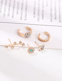 Fashion Golden Flower Butterfly Stud Earrings