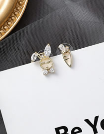 Fashion Golden Zircon Radish Rabbit Asymmetric Stud Earrings