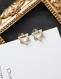 Fashion Golden Pearl Six-star Stud Earrings