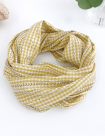 Fashion Yellow Floral Check Children Scarf