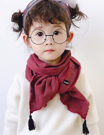 Fashion Red Wine Checked Fringed Children's Scarf