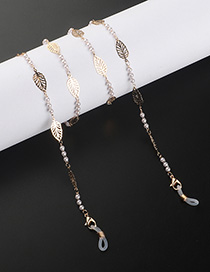 Fashion Golden Hollow Leaf Pearl Glasses Chain