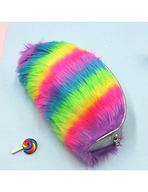 Fashion Cosmetic Bag Rainbow Contrast Plush Sequin Cosmetic Case