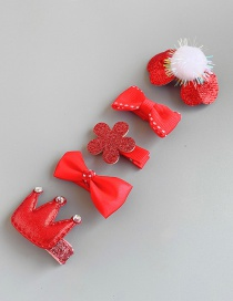 Fashion Red Flower Hair Ball Crown Bow Children's Hair Clip Set