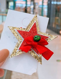 Fashion Red Pentagram Star Bell Children's Hair Clip