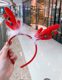 Fashion Red Bell Antlers Headband Antler Feather Child Hair Band
