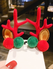 Fashion Pink Hair Ball Leaf Antlers Hair Clip Set