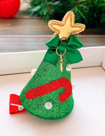 Fashion Green Christmas Tree Christmas Hat Star Cane Child Hairpin