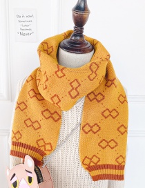 Fashion Yellow Printed Contrast Children Scarf