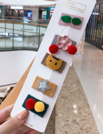 Fashion Cherry Series # 5 Piece Set Cherry Blossom Star Kids Hair Clip Set