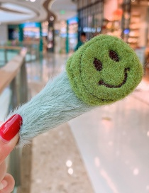 Fashion Green Smiley Plush Smiley Hair Clip Child