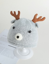 Fashion Gray Antlers Bear Baby Hat