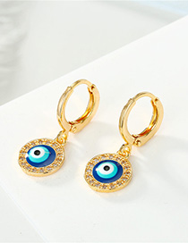 Fashion Golden Dripping Diamond Round Earrings