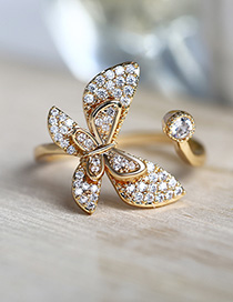 Fashion Golden Full Diamond Butterfly Open Ring