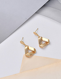 Fashion Golden Matte Gold Geometric Stud Earrings