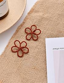 Fashion Orange Flocking Hollow Flower Earrings