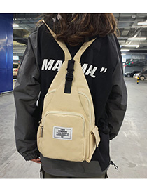 Fashion Beige Patchwork Lettering Crossbody Backpack