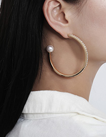 Fashion Golden C C-shaped Pearl Earrings With Diamonds