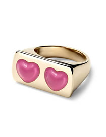 Fashion Pink Dripping Double Love Square Ring