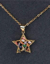 Fashion Color Star Necklace With Diamonds