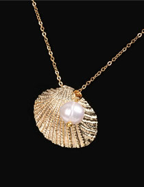 Fashion Golden Shell Pearl Embossed Necklace