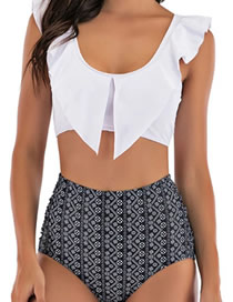 Fashion White Trousers Ruffled V-neck Printed Pleated High Waist Swimsuit