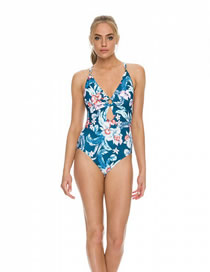 Fashion Navy Blue Printed Cutout Floral One-piece Swimsuit