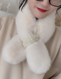 Fashion Creamy-white Bead-like Rabbit Fur Collar
