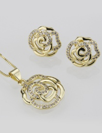 Fashion Gold-plated Rose Ear Stud Necklace Set With Diamonds