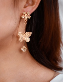 Fashion Gold-plated Size Flower Butterfly Earrings