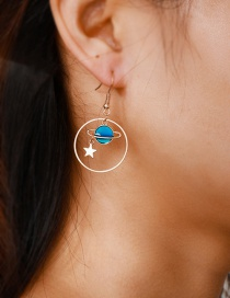 Fashion Gold-plated Earth Moon Stars Round Earrings