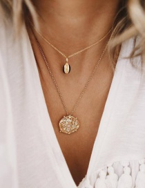 Fashion Gold-plated Irregular Multi-layer Disc Scallop Necklace