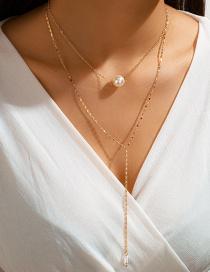Fashion Golden Water Drop Round Pearl Double Necklace