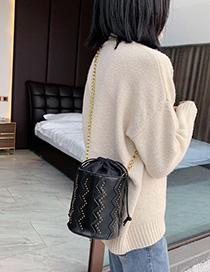 Fashion Black Drawstring Waist Chain Shoulder Crossbody Bag