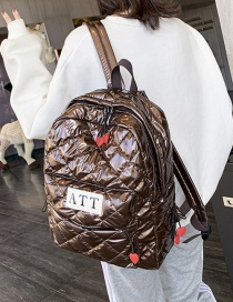 Fashion Coffee Color Stitched Lettering Rhombus Space Cotton Backpack