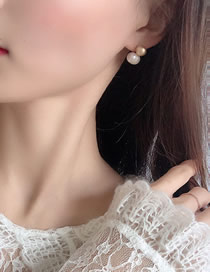 Fashion Beige Geometric Alloy Pearl Earrings