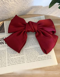 Fashion Spring Clip-wine Red Large Satin Bow Hair Clip