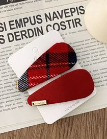 Fashion Water Drop Section-red Plaid Fabric Drop Shaped Hair Clip Set