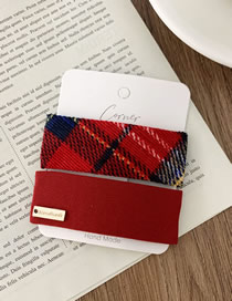 Fashion Square Section-red Plaid Fabric Square Hair Clip Set