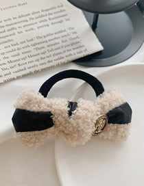 Fashion White Hair Rope Lamb Wool Bow-like Faux Fur All-in-one Hair Rope