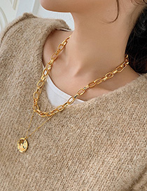 Fashion Golden Round Concave Chain Necklace