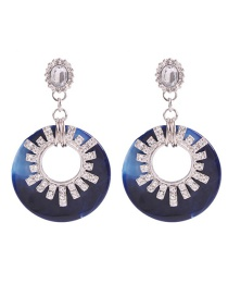 Fashion Navy Blue Acrylic Round Earrings With Diamonds