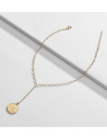 Fashion Golden Alloy Round Embossed Necklace