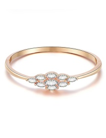 Fashion Rose Gold Alloy Diamond Geometric Bangle Bracelet
