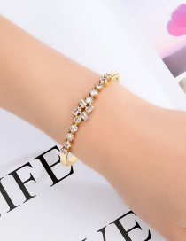 Fashion Golden Alloy Rectangle Bangle With Diamonds