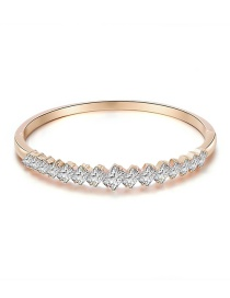 Fashion Rose Gold Alloy Diamond Wave Bracelet