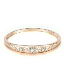 Fashion Rose Gold Alloy Diamond Round Bangle