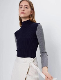 Fashion Gray Contrasting Contrast Half Turtleneck Sweater