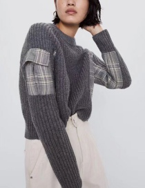 Fashion Gray Contrasting Houndstooth Knit Sweater