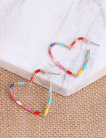 Fashion Color Love Hollow Color Patchwork Earrings